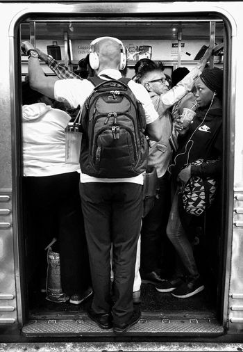 Let's Go. Together. Train - Vehicle Public Transportation Subway Train Journey Rail Transportation Commuter Commuter Train Transportation Crush Black And White Beneath Manhattan 2017 | E train