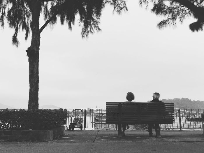 An elderly couple in Cheng Chau Island Two People Rear View Men Lifestyles Bench Leisure Activity Sitting Outdoors Day Togetherness Sky Tree Nature Old Love Couple Blackandwhite