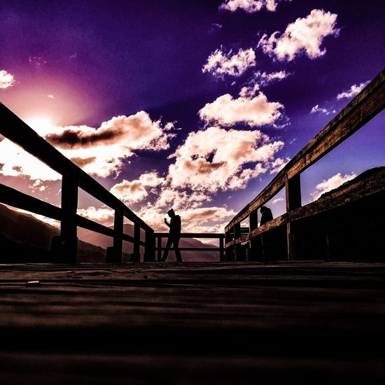 Creative Edit Experimental Edit Sky Cloud - Sky Bridge - Man Made Structure Silhouette Railing One Person Built Structure Steps And Staircases Outdoors Nature