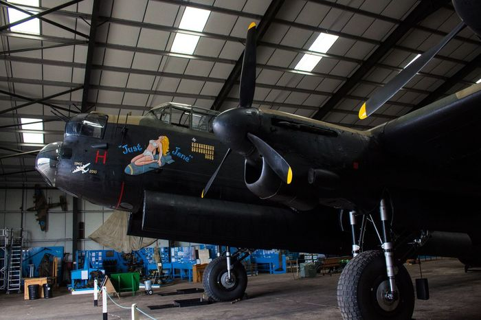 AVRO Lancaster Bomber 'Just Jane' from the side. Aviation Airplane Plane Canon Hangar Aeroplane Engine Lincolnshire Focused Bomber Wartime  Ww1 Raf No People Focus Point Lancaster Bomber Canonphotography Aviationlovers Aviationphotography Warplane Royal Air Force Bomber County Focus On Foreground