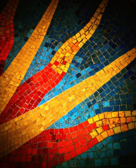 Mosaic Tiles Sunburst ArtWork Sunny Golden Sun Gold Rich Colors Blue Red Preston