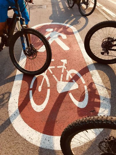 were we go? Bicycle Sunlight Transportation Shadow High Angle View Day Road Street Sign Sport