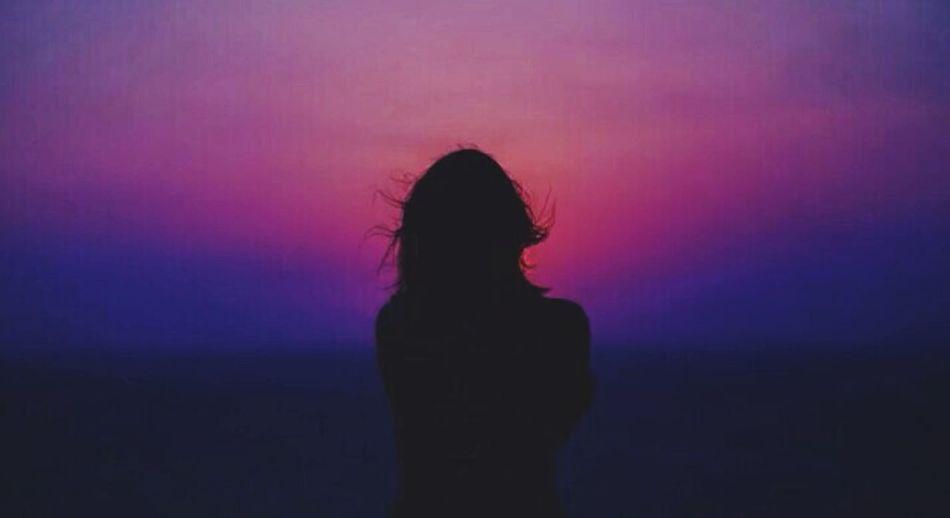 #brokenheart Sunset Silhouette Long Hair Pink Color Sky