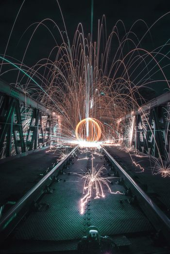 Long Exposure Illuminated Night Motion Wire Wool Glowing Arts Culture And Entertainment Blurred Motion No People Outdoors Firework Sky