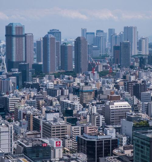 High Angle Shot Of Cityscape