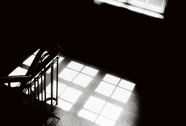 High angle view of empty staircase in building