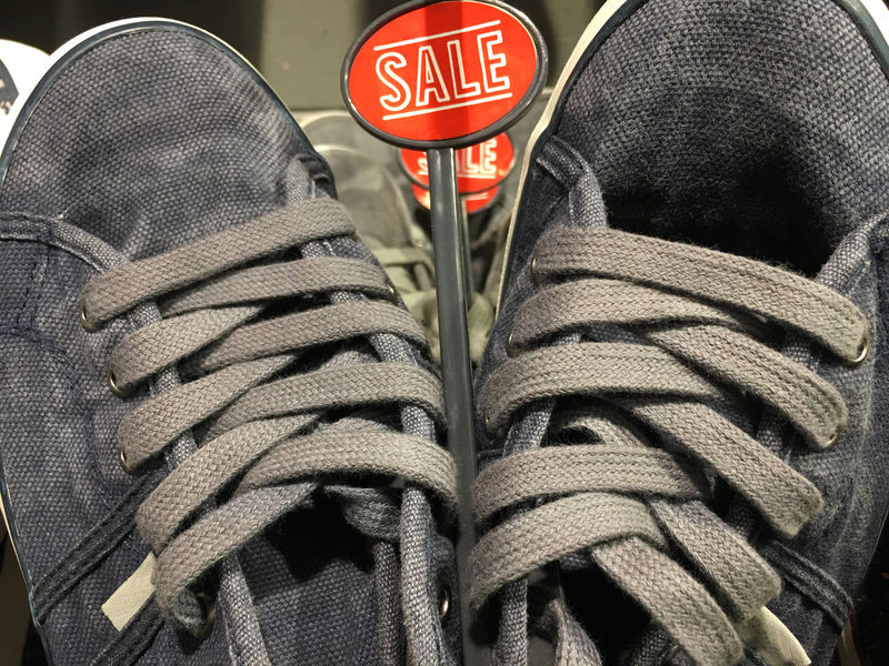 Shoes in the Sales. Bargain Bargain Alert!!! Bargain Hunting Canvas Shoe Close Up Day Grey Grey Color Horizontal Laces Retail Display Sale Sale Sign Sales Sales Time Shoe Shoelaces Shoes Shopping Word Written