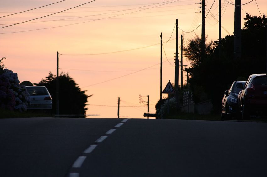 Car Day Mode Of Transport No People Outdoors Power Line  Road Sky Street Sunset Transportation Tree
