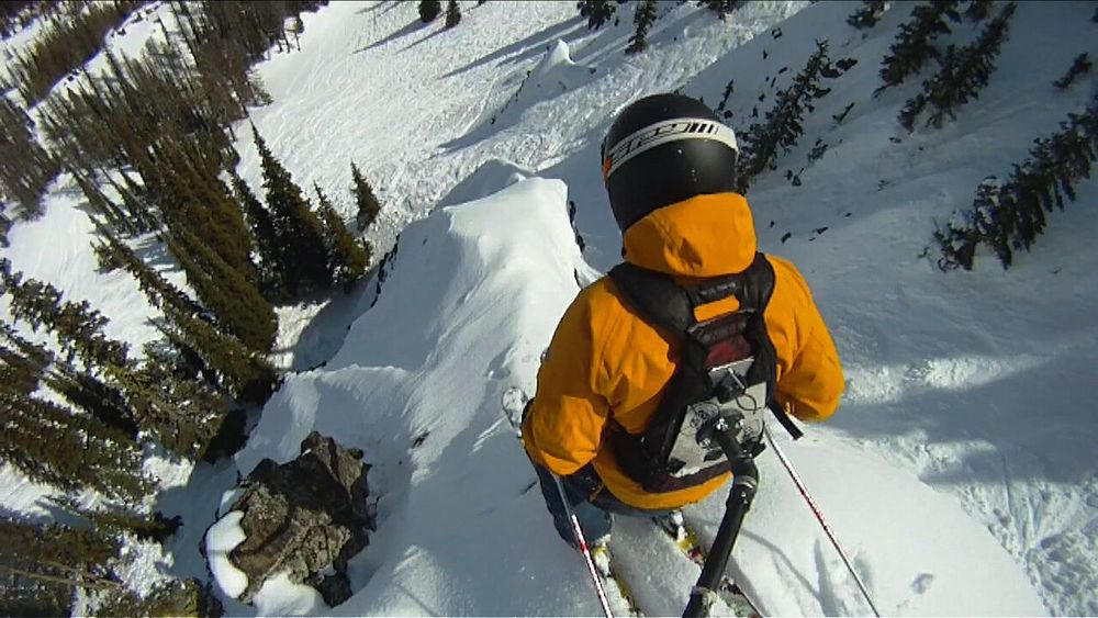 Skier at Mission Ridge in Wenatchee, WA. Adventure Club Skiing Ski Action Sports Free Exhilarating Exciting RISK Chances Insanity Perspective Creative Shots Burley Cascades Mountains Looking Down Extreme Terrain High Angle View Confidence  Strong Calculated A Bird's Eye View Snow Sports
