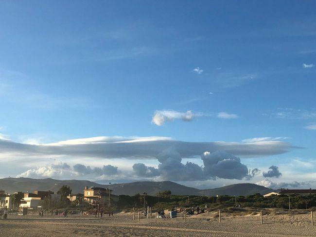Gavà Beach Windy Sand Sky Clouds And Sky Clouds Landscape
