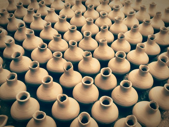 Full frame shot of clay vases