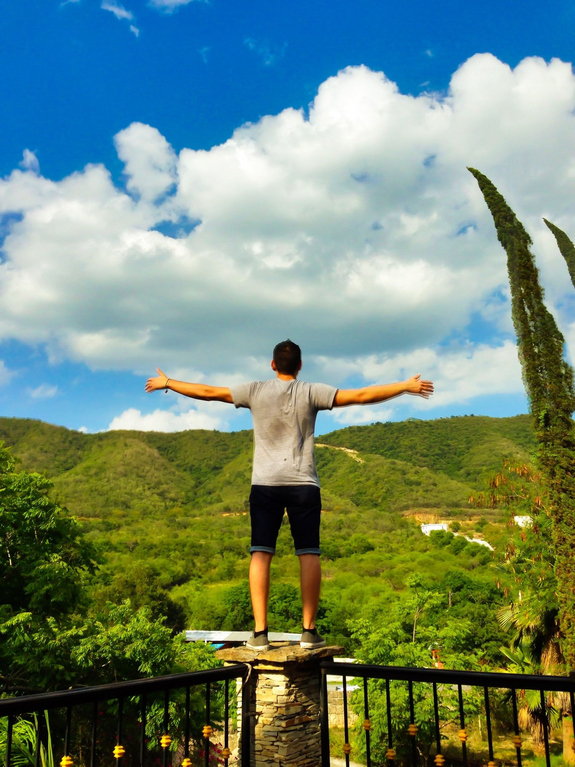 full length, sky, lifestyles, standing, leisure activity, rear view, casual clothing, cloud - sky, tree, cloud, mountain, railing, nature, arms outstretched, tranquil scene, tranquility, men, beauty in nature