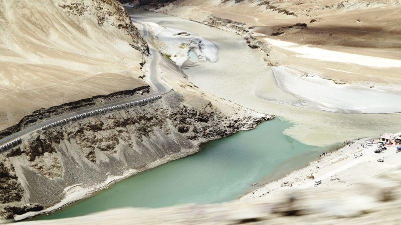 Zanskar River Indus River Confluence Moving Vehicle Leh Ladakh