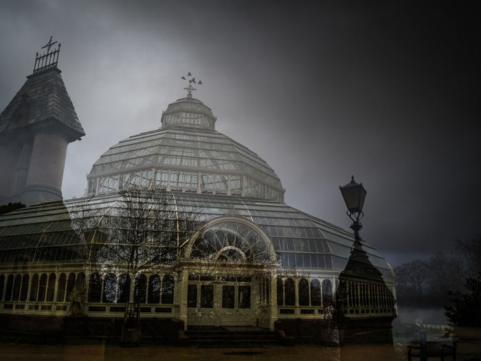 In camera double exposure, Sefton Park, Liverpool, England Double Exposure Gates Liverpool Liverpool England PalmHouse Architecture Blackandwhite Photography Blackandwhitephotography Building Exterior Built Structure Day Dome Doubleexposure History Low Angle View No People Outdoors Park Sefton Park Sky Travel Destinations