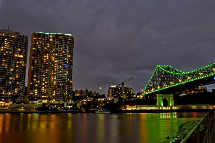 The Story Bridge Lights Reflection River City Nights Brisbane River Illuminated Night Architecture Built Structure Travel Destinations Connection Sky Building Exterior Waterfront Skyscraper Bridge - Man Made Structure No People Outdoors Water Modern City Nature