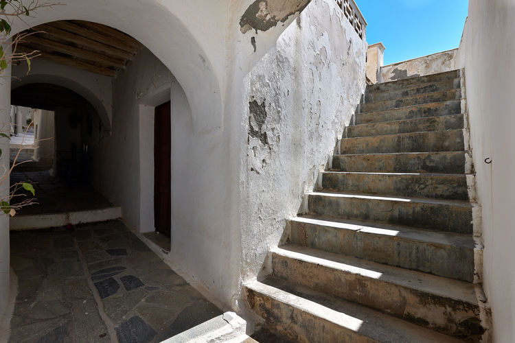 Naxos Town Arcade Arch Architectural Column Architecture Building Building Exterior Built Structure Day Direction Door Entrance History Nature No People Outdoors Railing Staircase Steps And Staircases The Past The Way Forward Wall - Building Feature