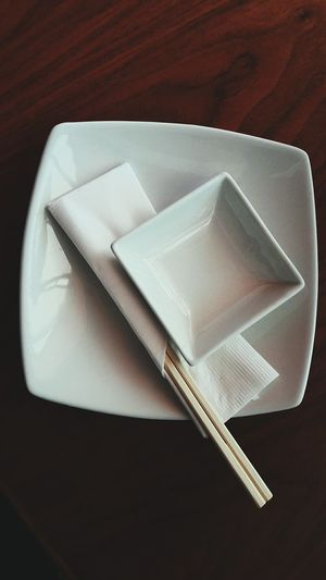 Table Close-up High Angle View Sushi Plate Dish White Color Sushi Restaurant