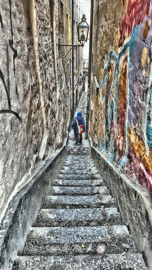 Walking home from school Old Town Stockholm Sweden Legobag Boys Graffiti Wall Narrow Street Stone Steps Hdrphotography Hdr_Collection Hdr Edit