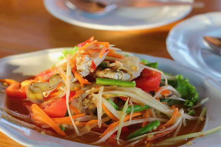 Papaya Salad Thaifoods Papaya-salad With Sea Food Food And Drink Thailand Photos Bangkok Thailand. Thailand_allshots Thailsnd_allshots Food Seafood Food And Drink Plate Ready-to-eat Healthy Eating No People Close-up Indoors  Freshness Day Tomato