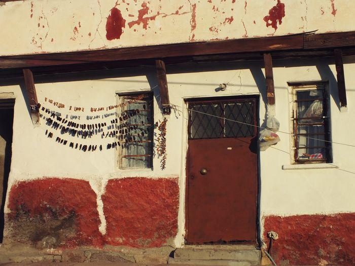 Village House Otantic Door Red&white Style