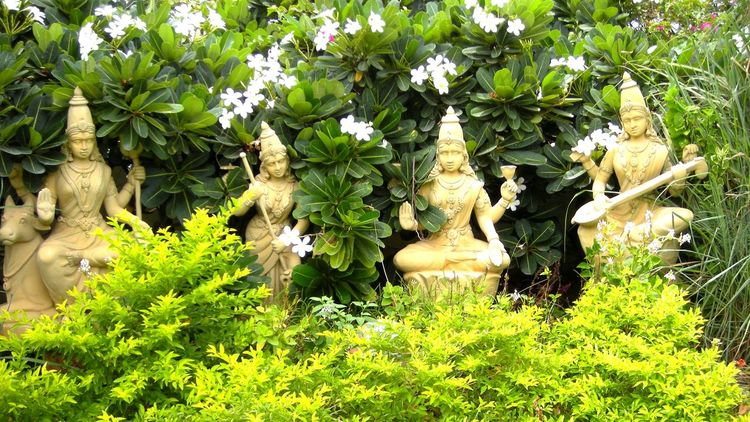Nature Green Color Sculpture Temple Hinduism Devi Divine Shakti Pondicherry