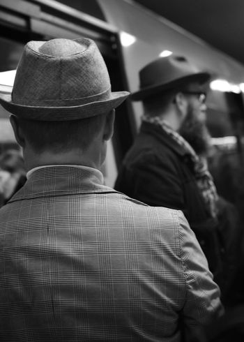 Jealousy Hat Real People Focus On Foreground Well-dressed Streetphotography Streetphoto_bw Stockholm Public Transportation Nikon D3400 Blackandwhite