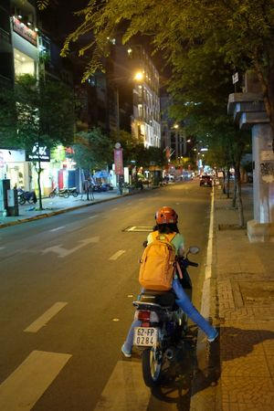 Vietnam Vietnamese City Helmet Land Vehicle Motorcycle Night On The Road One Person Outdoors People Real People Riding Scooter Street Transportation
