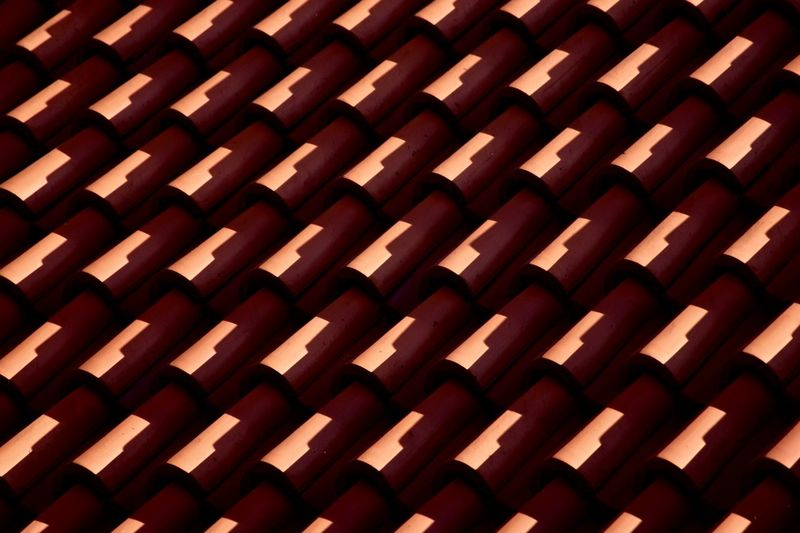 A roof in the evening light 3XSPUnity Exceptional Photographs EyeEm Best Shots Fine Art Photography Taking Photos The Week On EyeEm Abstract Backgrounds Close-up Day Full Frame In A Row Indoors  Minimalism Minimalobsession No People Pattern Red Roof Simple Photography Simplicity Structure Symmetrical Symmetry Textured