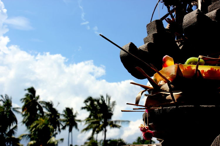 An offerings to Gods for the beautiful morning. Balinese Culture Hinduism Low Angle View Offering Offering Incense Offering To God Offerings In Bali The Offering