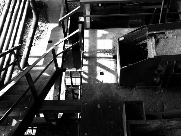 Abandoned Buildings Old Coal Mine Stairs Playing With The Light Playing With The Shadows Looking Down