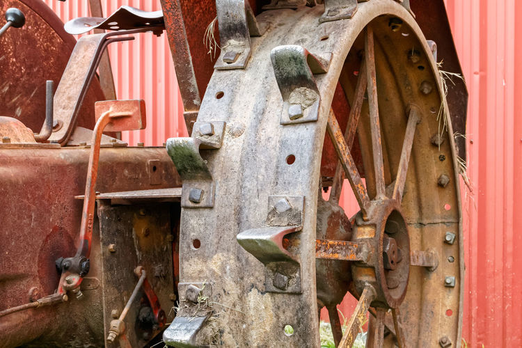 Close-up of agricultural machinery