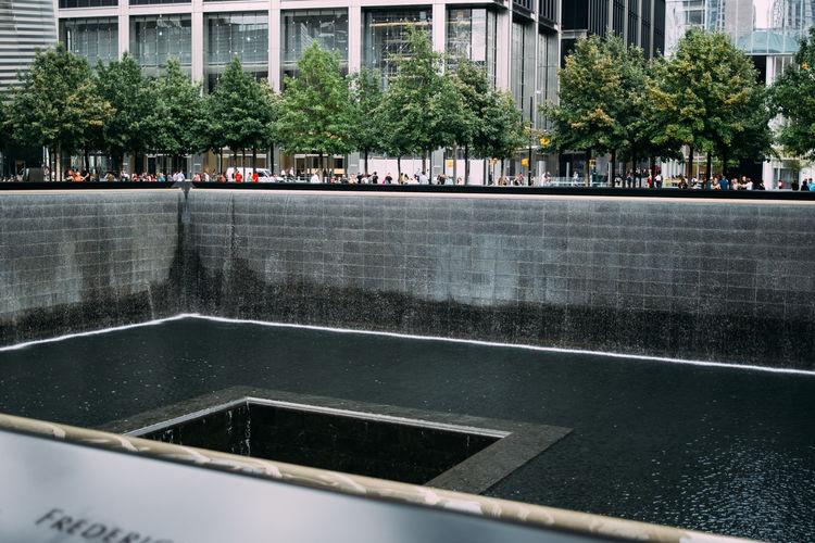 New York City Ground Zero, NYC 9/11 Memorial Water Street Fountain Architecture Memorial