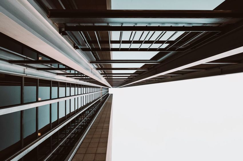 - A = ARCHITECTURE- Check This Out New Look ! Office Building Architecture Architecture Architecture Built Structure No People Indoors  Day Transportation Bridge Low Angle View Diminishing Perspective Ceiling Sky Clear Sky Metal Building