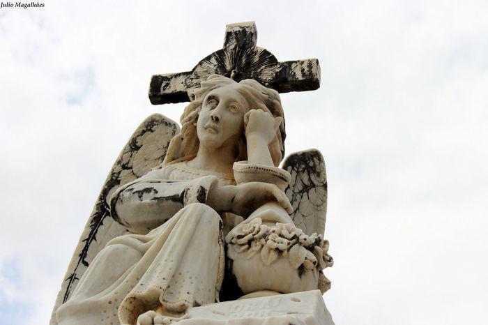 Statue Sculpture No People Low Angle View Evil Sky Day Outdoors São Luís - MA Maranhão Cemitery Escultura No Pepole Angel Anjo