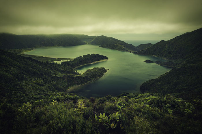 Azores EyeEm Best Shots EyeEm Nature Lover EyeEmNewHere Foggy Weather Lagoa Do Fogo Beauty In Nature Day Foggy Foggy Day Foggy Landscape Lake Landscape Landscape #Nature #photography Mountain Nature No People Outdoors Physical Geography Scenics Sea Sky Tranquil Scene Tranquility Water