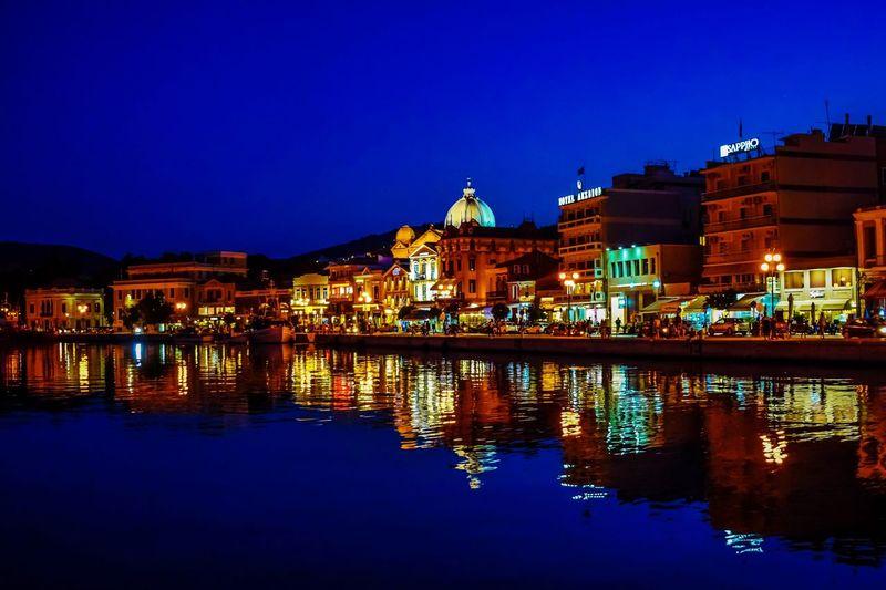 Nightlights Reflections In The Water Greece Mytilene Reflection Sky Night
