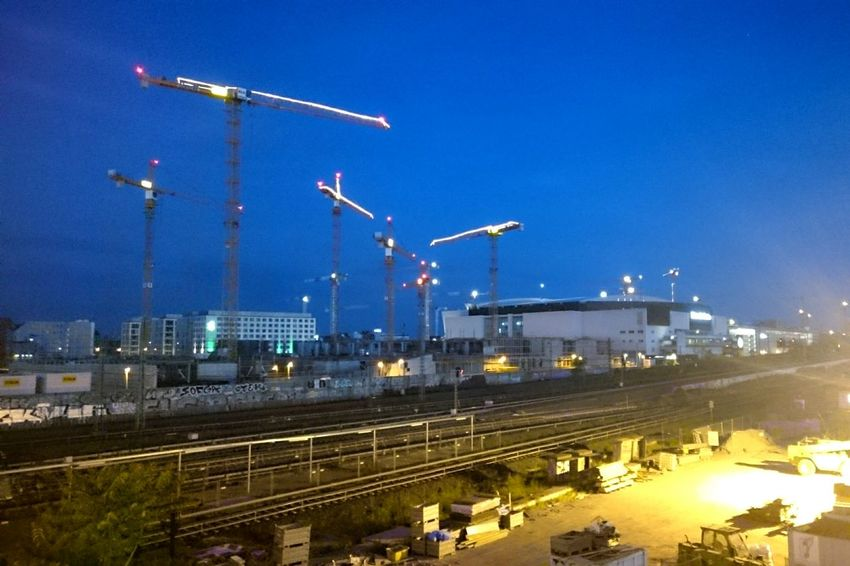 Night Freight Transportation Industry Illuminated Business Finance And Industry Outdoors Sky No People Construction Site