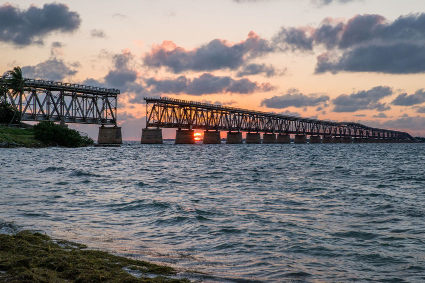 The old bridge at Bahia Honda state park, Florida Keys. Nature Transportation Beauty In Nature Bridge Bridge - Man Made Structure Clouds Ocean Sunset Waterfront Waves An Eye For Travel