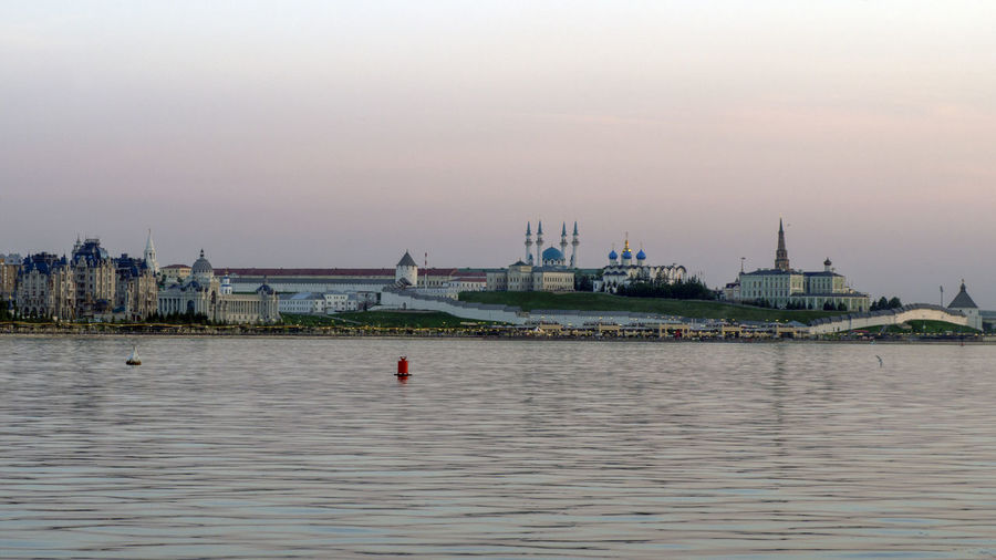 Kazan Kremlin By Kazanka River Against Sky