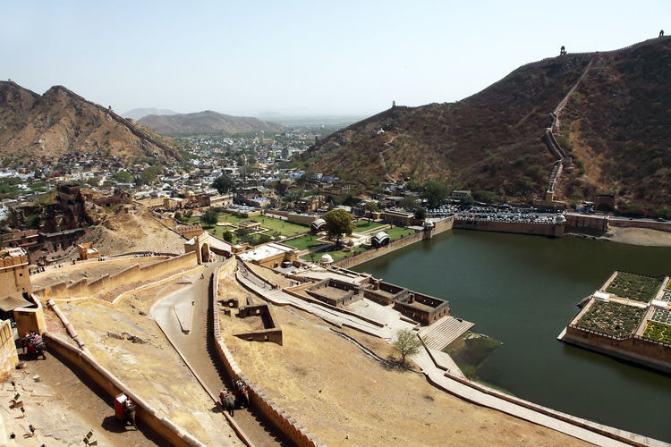 High Angle View Of Amer Fort By Mountains And Residential District