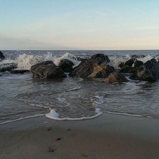 Nofilters Caister Caisteronsea Seaside sand rocks tide sky blue bluesky beach htcone htc1 springevening spring waves splash spray