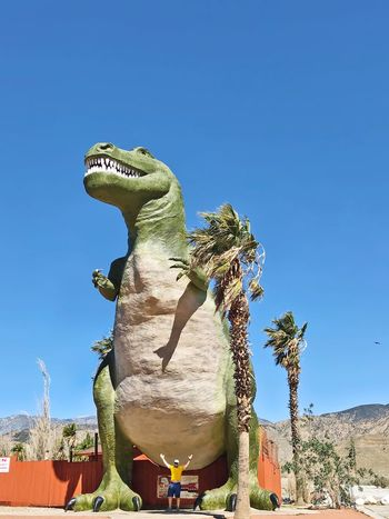 Tyrannosaurus and palm trees Dinosaur Clear Sky Day Blue Copy Space No People Outdoors California Dreamin Reptile Animal Themes Sculpture Low Angle View Statue