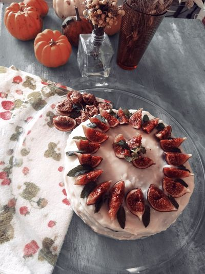 High angle view of fruit in plate on table