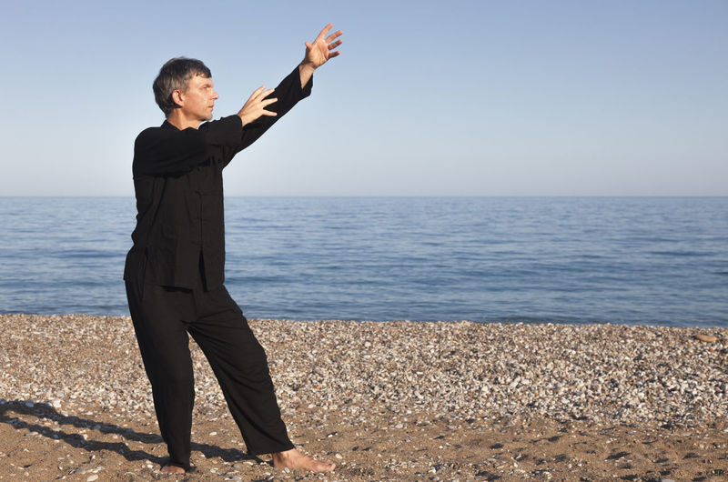 Mature Man Practicing Kung Fu At Beach Against Sky