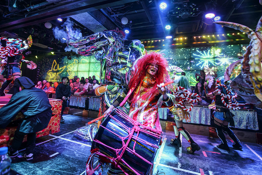 Performance at the Robot Restaurant Adult Adults Only Colorful Colourful Dance Drum Fun Indoors  Indoors  Kabukicho Music People Performance Performer  Performing Arts Event Robot Restaurant Shinjuku Stage - Performance Space Stage Light