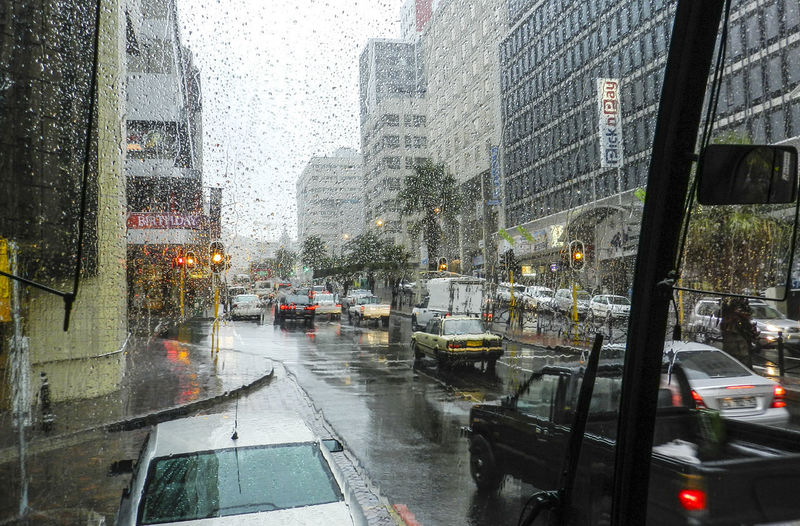 A busy wet city