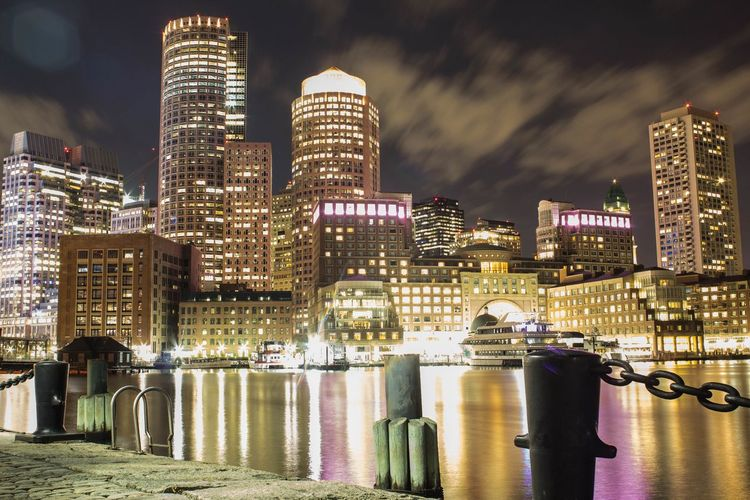 Overlooking boston seaport and rowes wharf