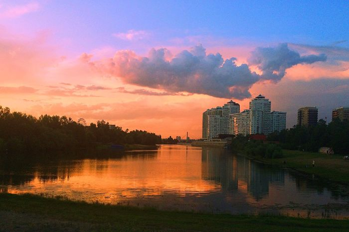 Sunset River Sky Blue река Закат небо облака Clouds Nature