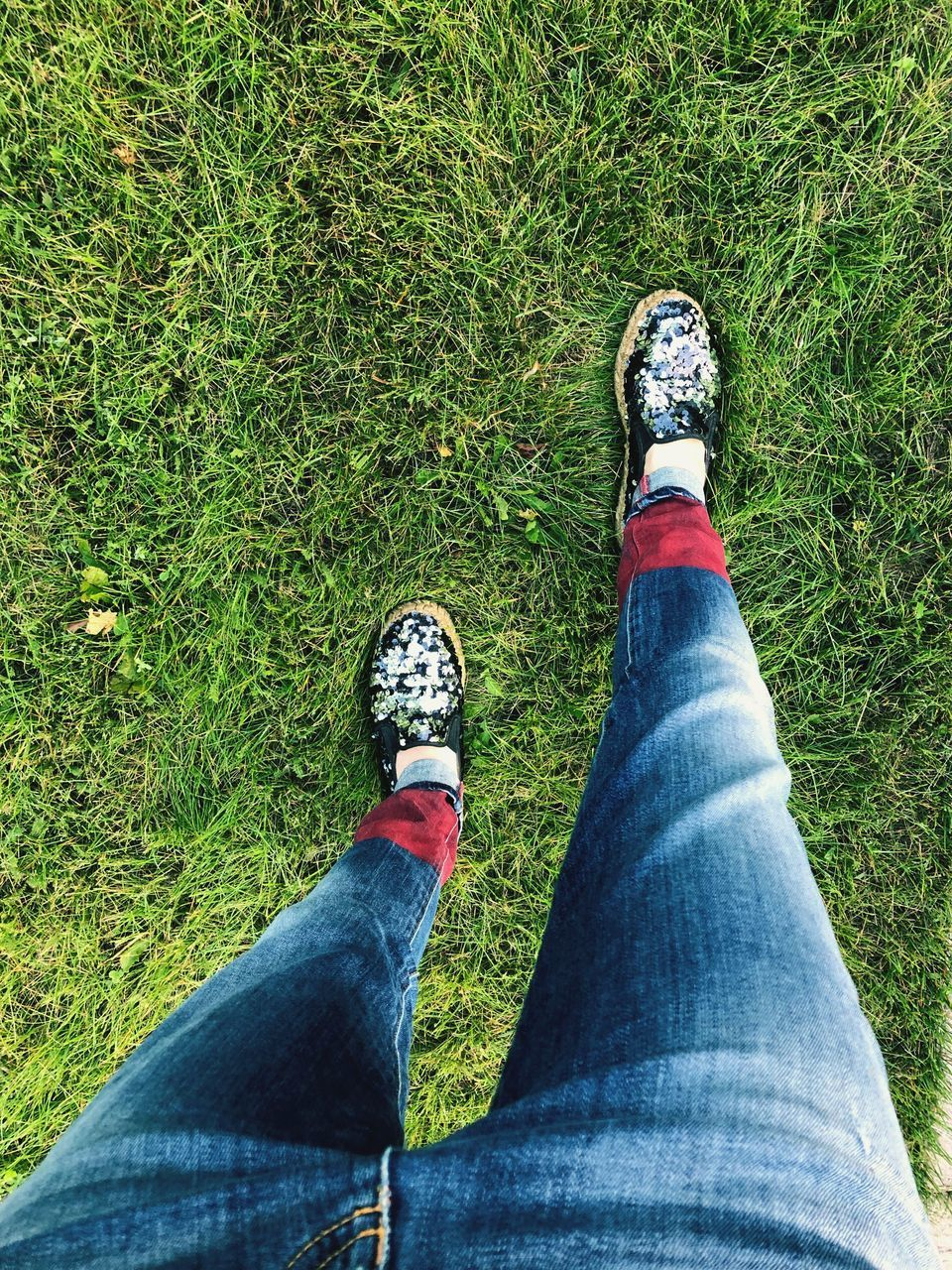 human leg, low section, personal perspective, grass, human body part, body part, jeans, plant, shoe, casual clothing, lifestyles, one person, real people, high angle view, land, nature, day, leisure activity, green color, outdoors, limb, human limb, human foot, sock