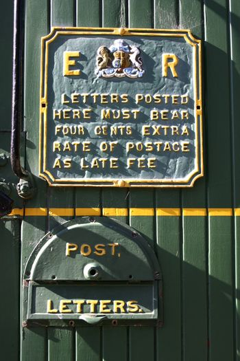 Historic Kingston Flyer Steam Train, mail box, KINGSTON New Zealand Close-up Day Green Color Historic New Zealand No People Old-fashioned Post Postbox Royal Mail Text Train Postbox
